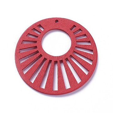 Wood Pendants, Dyed, Flat Round, Red, 48x2mm, Hole: 1.5mm(X-WOOD-P014-C07)