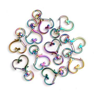 Alloy Swivel Lobster Clasps, Swivel Snap Hook, Heart, Rainbow, Multi-color, 34x24x5mm, Hole: 4x9.5mm(PALLOY-TAC0009-83)