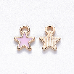 Alloy Enamel Charms, Star, Light Gold, Pink, 9x7x1mm, Hole: 1.2mm