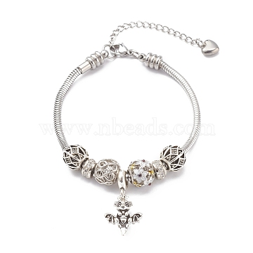 Alloy Enamel European Bracelets, with Brass Micro Pave Cubic Zirconia Beads, Dragon, Antique Silver & Platinum, 8 inches(20.3cm)(BJEW-JB05938-01)