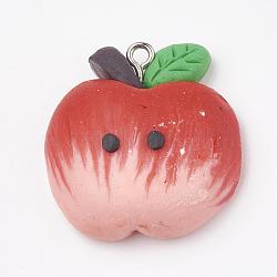 Pendentifs en pâte polymère manuels, avec les accessoires en fer, pomme, platine, rouge, 28x27x11mm, Trou: 2mm(X-CLAY-T012-04)