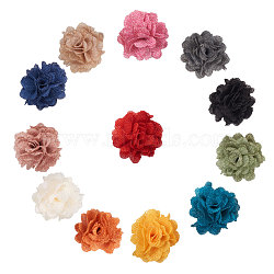 ручной тканые аксессуары костюма, льняной цветок, cmешанный цвет, 57~60 мм; 12 шт / комплект(WOVE-PH0001-04)