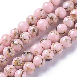 perles de turquoise synthétique et coquillage assemblées, teints, arrondir, rose, 6 mm, trou: 1 mm; environ 68~70 perle / brin, 15.4~15.7 (39.2~40 cm)(G-F623-02-6mm)