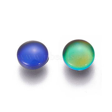 Glass Cabochons(Color will Change with Different Temperature), Mood Cabochons, Half Round, Colorful, 10x4mm(X-GGLA-J010-02-10mm)