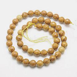 """Chapelets de perles en bois pétrifié naturel, teint, facette, rond, 8mm, trou: 1mm; environ 46 pcs/chapelet, 15.75""""(G-G542-8mm-06)"""