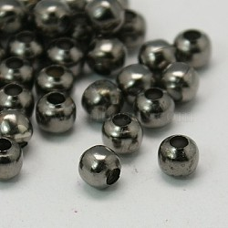 Iron Spacer Beads, Round, Gunmetal, 4mm, Hole: 1.5mm, about 535pcs/50g(X-IFIN-E148Y-B)