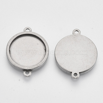 304 Stainless Steel Cabochon Connector Settings, Flat Round, Stainless Steel Color, Tray: 18mm; 27.5x21x2mm, Hole: 1.8mm(X-STAS-T047-05A)