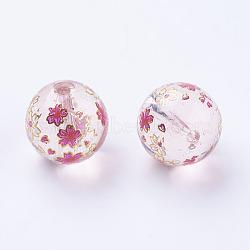 Fleur photo perles de verre imprimé, rond, chardon, 12x11mm, Trou: 1.5mm(GLAA-E399-12mm-E06)