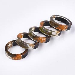 кольца из эпоксидной смолы и черного дерева, с сухих цветов, золотая фольга, оливковый, 17.5 mm(RJEW-S043-01C-02)