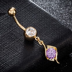 Brass Cubic Zirconia Navel Ring, Belly Rings, with Use Stainless Steel Findings, Cadmium Free & Lead Free, Real 18K Gold Plated, Lilac, 42x8mm, Pin: 1.5mm(AJEW-EE0004-28D)