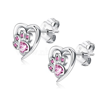 925 Sterling Silver Stud Earrings, with Cubic Zirconia, Heart with Dog Footprints, Pink, Platinum, 10x8mm(EJEW-BB50174-B)