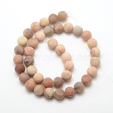 Natural Sunstone Frosted Round Bead Strands(G-O039-07-6mm)-2