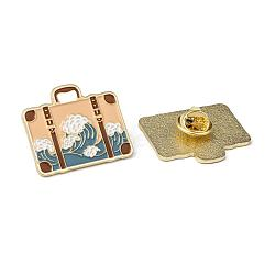 Creative Zinc Alloy Brooches, Enamel Lapel Pin, with Iron Butterfly Clutches or Rubber Clutches, Suitcase, Bisque, 26.2x30.5mm; pin: 1mm(JEWB-R015-001)