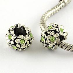Argent antique alliage plaqué strass fleur grand trou perles européennes, péridot, 11x8mm, Trou: 5mm(X-MPDL-R041-04C)
