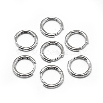 925 Sterling Silver Hoop Earrings, Platinum, 12x2mm; Pin: 0.8mm(STER-L057-077A)