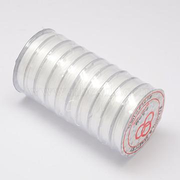 Flat Elastic Crystal String, Elastic Beading Thread, for Stretch Bracelet Making, White, 0.8mm, about 10.93 yards(10m)/roll(X-EW-O001-02A)