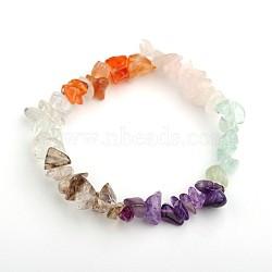 Jetons colorés de pierres précieuses s'étendent bracelets, pierre mixte, 50mm(X-BJEW-JB01546)