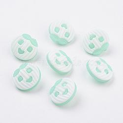 Boutons acrylique à queue de pomme , 1-trou, teint, aigue-marine, 17x16x3mm, Trou: 2.5mm(BUTT-E042-12)