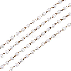 Handmade Round Glass Pearl Beads Chains for Necklaces Bracelets Making, with Antique Bronze Iron Eye Pin, Unwelded, Creamy White, 39.3 inches, Bead: 6mm(X-AJEW-JB00035-02)