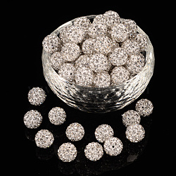 Pave Disco Ball Beads, Polymer Clay Rhinestone Beads, Grade A, Round, Crystal, PP14(2~2.1mm); 10mm, Hole: 1.0~1.2mm(RB-H258-10MM-001)