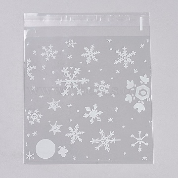 Printed Plastic Bags, with Adhesive, Snowflake, Clear, 14.2x14cm; about 95~100pcs/bag(PE-WH0003-02C)