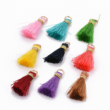 Nylon Thread Tassel Pendant Decorations, with Golden Iron Jump Rings and Metallic Cord, Mixed Color, 22~26x5~7mm, Hole: 4x2mm(X-FIND-S261-M)