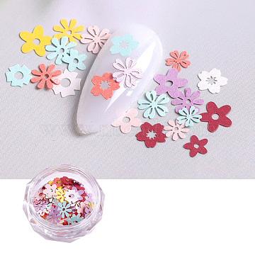 Paper Cabochons, Nail Art Decorations, Flower, Mixed Color(X-MRMJ-R067-06B)