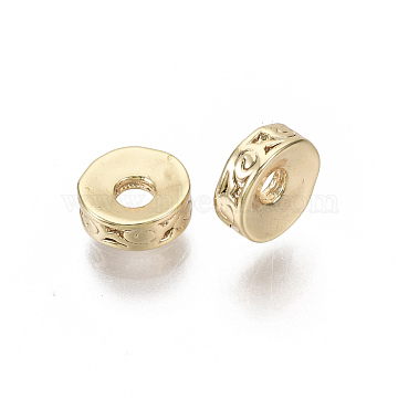 Brass Spacer Beads, Nickel Free, Flat Round, Real 18K Gold Plated, 6x2mm, Hole: 1.6mm(X-KK-N231-94-NF)