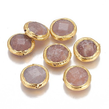 19mm Flat Round Sunstone Beads