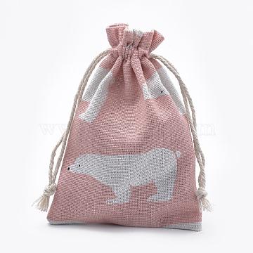 Polycotton(Polyester Cotton) Packing Pouches Drawstring Bags, with Printed Polar Bear, Salmon, 14x10cm(X-ABAG-T006-A20)