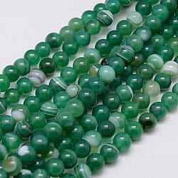 Round Dyed Natural Striped Agate/Banded Agate Beads Strands, SeaGreen, 8mm, Hole: 1mm; about 48pcs/strand, 15.2