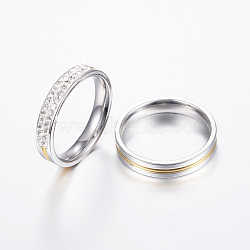 304 anneaux de couple en acier inoxydable, avec strass, couleur d'acier inoxydable d'or &, 16.5~18.9 mm(RJEW-P057-03)