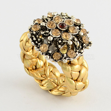 Personalized Flower Rings, Alloy Rhinestone Rings, with Imitation Leather Cord, Gold, 14~15mm(RJEW-PJR007-A-1)