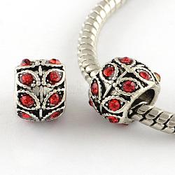 Perles européennes en alliage plaqué argent antique à gros trou, rondelle à la feuille, jacinthe, 9x7mm, Trou: 5mm(X-MPDL-R041-02E)