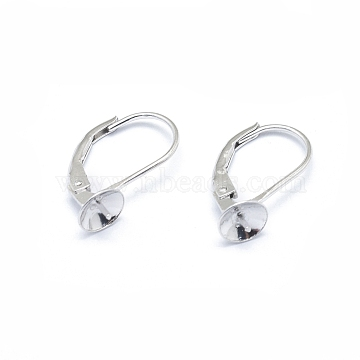 925 Sterling Silver Leverback Earring Findings, with Cup Pearl Peg Bails Pin, for Half Drilled Beads, Platinum, 17mm, Pin: 0.7mm, Bail: 6mm, pin: 0.6mm(X-STER-I017-084I-P)