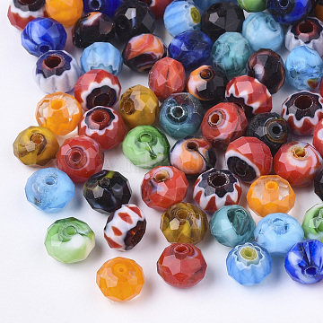 Handmade Millefiori Lampwork Beads, Faceted, Rondelle, Mixed Color, 7.5~8x5.5~6mm, Hole: 1.5mm(X-LK-Q002-01)