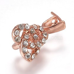Pendentifs de bails de cheville en laiton strass, pour la moitié de perles percées, or rose, 17x9.5x7mm, trou: 3x4 mm; broches: 0.8 mm(KK-F773-04RG)
