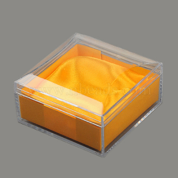 Plastic Jewelry Boxes, with Cloth, Square, Gold, 95x95x54mm(X-OBOX-G007-02)