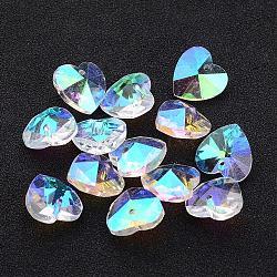 Valentines chers jour pendentifs idées cadeaux de verre, cœur, création de bracelet magnifique pour le jour de mère, facette, clair ab, de couleur plaquée ab , 14x7~8mm, Trou: 1mm(X-GB002AB)