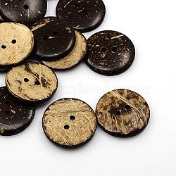 Boutons de noix de coco, 2-trou, plat rond, coconutbrown, 30x5mm, Trou: 3mm(X-COCO-I002-100)