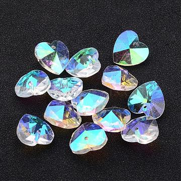 Valentine's Day Glass Pendants, Heart, For Bracelet Making, Faceted, Clear AB, AB Color Plated, 14x7~8mm, hole: 1mm(X-GB002AB)