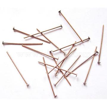 Iron Flat Head Pins, Cadmium Free & Nickel Free & Lead Free, Red Copper, 22x0.75~0.8mm, about 600pcs/50g(X-HPR2.2cm-NF)