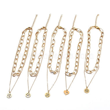 304 Stainless Steel Paperclip Chains Pendants Tiered Necklaces(NJEW-JN02765)-1