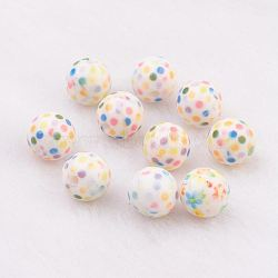 Spray Painted Resin Beads, with Polka Dot Pattern, Round, Colorful, 10mm, Hole: 2mm(GLAA-F049-A26)