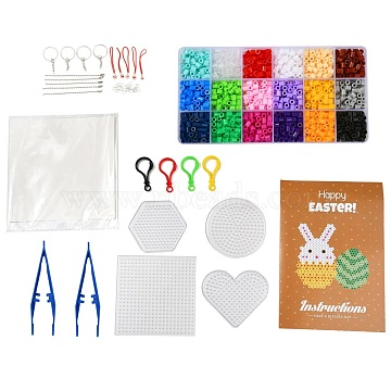 18 Colors DIY Fuse Beads Kit, with Mixed Shape ABC Plastic Pegboards, Ironing Paper and Plastic Tweezers, Iron Keychain Clasp Findings & Chains & Mobile Phone Strap, Plastic Keychain Clasp, Mixed Color, 5x5mm, Hole: 3mm; 1620pcs(DIY-X0295-01D-5mm)