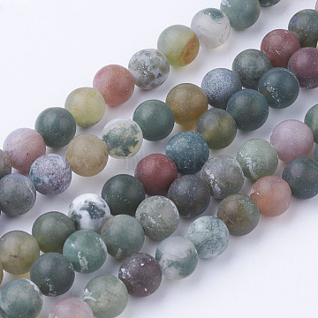 Natural Indian Agate Bead Strands, Round, Frosted, 6~6.5mm, Hole: 1mm; about 60pcs/strand, 14.9 inches(38cm)(G-G735-01F-6mm)