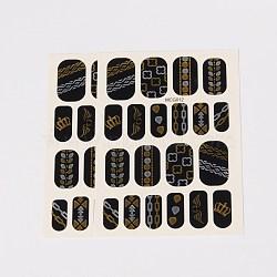 Autocollants en papier de tatouages temporaires de faux styles amovibles, métalliques ongles autocollants, or, 18~26x8~16 mm; environ 2 PCs / sac(AJEW-O025-15)
