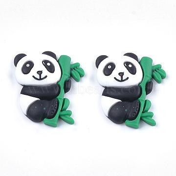 Resin Cabochons, Panda, Black, 28x25x5mm(X-CRES-S363-33)