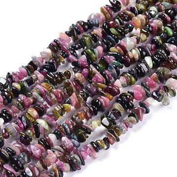 Natural Tourmaline Beads Strands, Chips, 5~12x4.5~8x1~5mm, Hole: 0.3mm; about 386pcs/Strand, 35.04 inches(89cm)(G-O187-03)