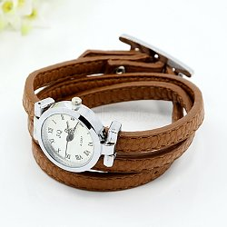 Fashionable PU Leather Wrap Watch Bracelets, with Alloy Watch Face and Alloy Findings, Platinum Metal Color, SaddleBrown, 620x8mm; Watch Head: 33x29x9mm(X-WACH-J007-08)